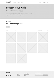 LoFi SubCategory Page Wireframe for Kaus