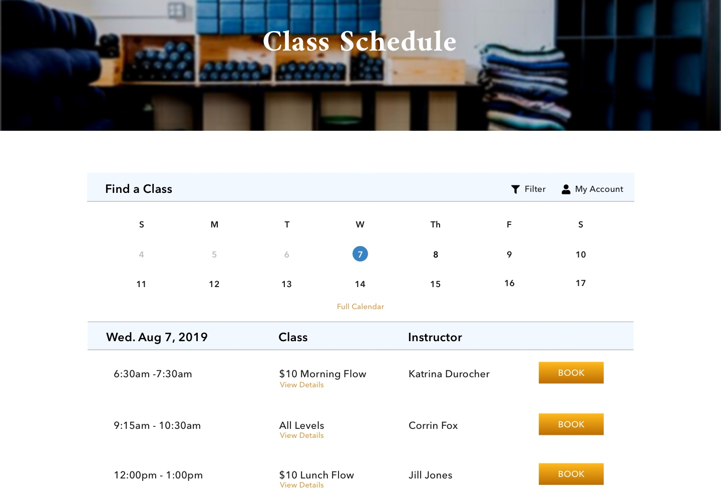 Hi-Fi-Zoomed Classes Page
