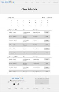 Wireframe Classes Page