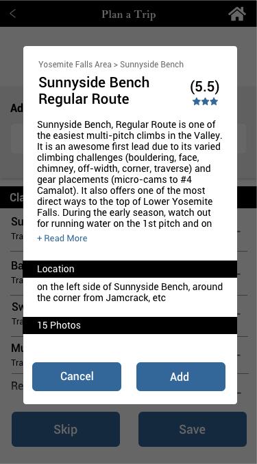 Route Description Pop Up- Plan Trip Feature