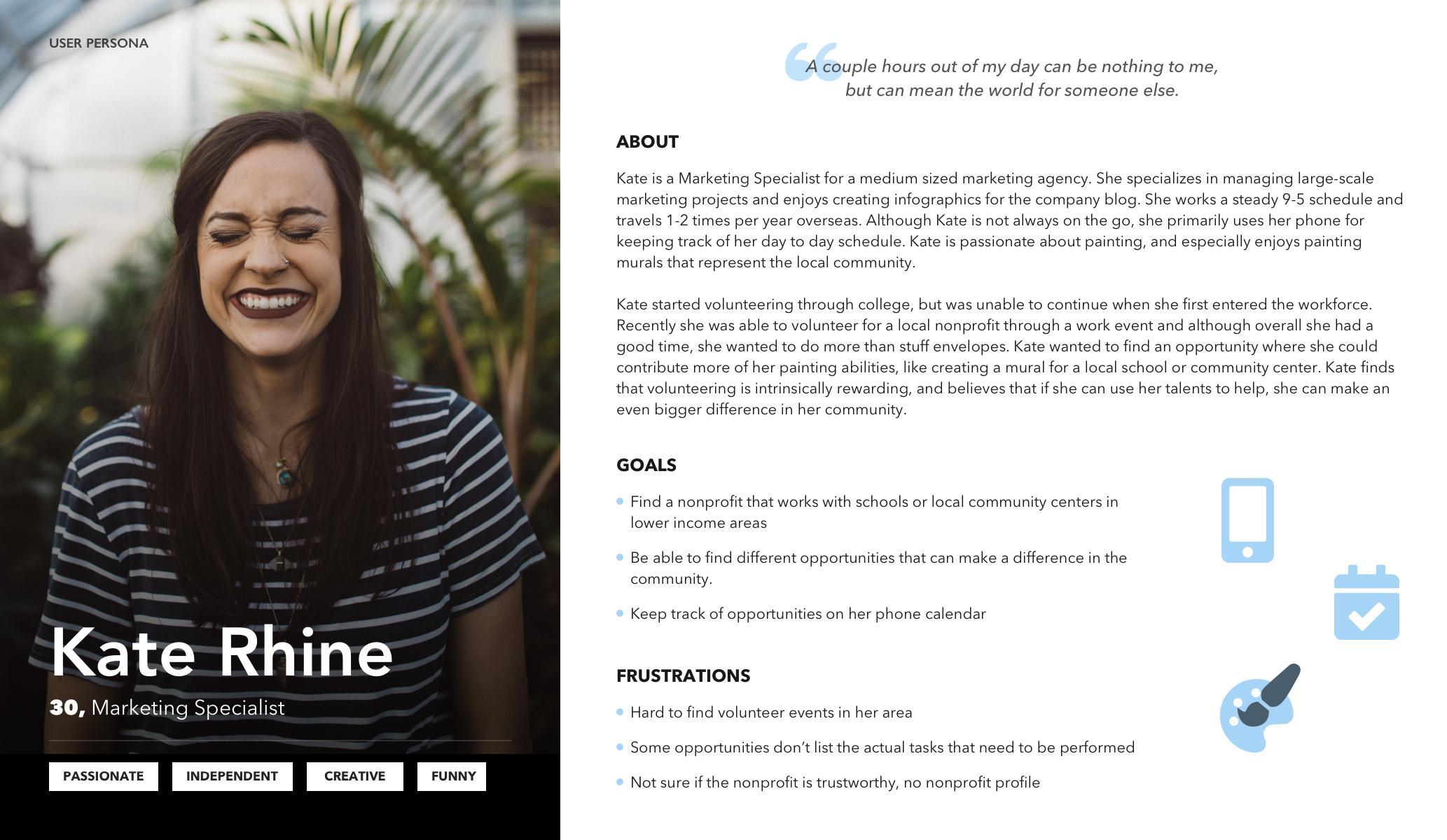 User Persona- Kate Rhine