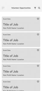 Volunteer Listings Wireframe